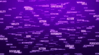 Flying Through Text Phrases Terms and Words | Seamless Looping Animated Motion Video Background | Motivation Inspirational Success Perseverance Determination Hardwork | Version 3 | Purple Violet Indigo Magenta