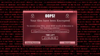 Ransomware Attack Display Screen with Unreadable Code lines Running in the Background and Timer Version 1 Red