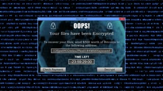 Ransomware Attack Display Screen with Unreadable Code lines Running in the Background and Timer Version 2