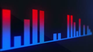 Red Blue Audio Bars | Volume Bars On a Pixelated LED Display | Display made of Pixels Displaying Audio Bars in Motion | Music Being Displayed as Audio Bars Seamless Looping Motion Background