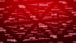 Flying Through Text Phrases Terms and Words | Seamless Looping Animated Motion Video Background | Motivation Inspirational Success Perseverance Determination Hardwork | Version 3 | Red
