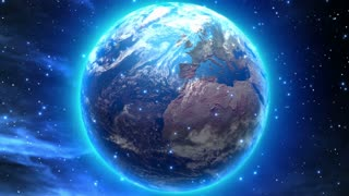 Rotating Dreamy Earth with Bright Blue Aura and Glow | Space Fantasy Seamless Looping Motion Background | DCI Ultra HD 4K 4096x2304 | Full HD 1920x1080