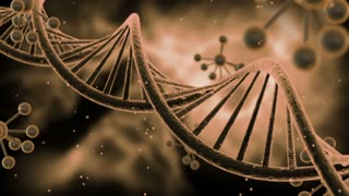 Science Fiction Spinning DNA Molecules Seamless Looping Motion Background | Sci Fi Animated Video Loop Animation of Double Helix Deoxyribonucleic acid Structure | Full HD 1920 X 1080 | Brown
