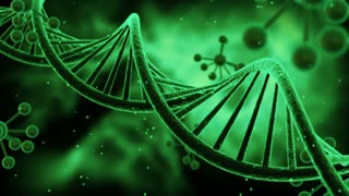 Science Fiction Spinning DNA Molecules Seamless Looping Motion Background | Sci Fi Animated Video Loop Animation of Double Helix Deoxyribonucleic acid Structure | Full HD 1920 X 1080 | Green