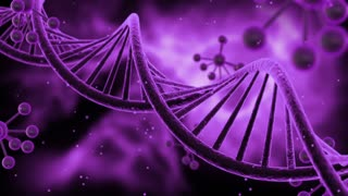 Science Fiction Spinning DNA Molecules Seamless Looping Motion Background | Sci Fi Animated Video Loop Animation of Double Helix Deoxyribonucleic acid Structure | Full HD 1920 X 1080 | Purple Violet
