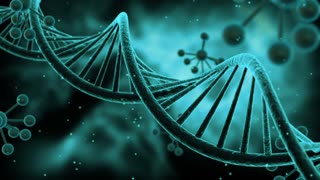 Science Fiction Spinning DNA Molecules Seamless Looping Motion Background | Sci Fi Animated Video Loop Animation of Double Helix Deoxyribonucleic acid Structure | Full HD 1920 X 1080 | Turquoise Teal