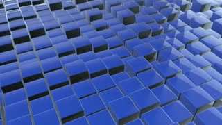 Scrolling Floor made up of Metallic Cubes | Shiny Metal Cubes with Displacement | Seamless Looping Video Background | 1920x1080 Full HD | Blue |