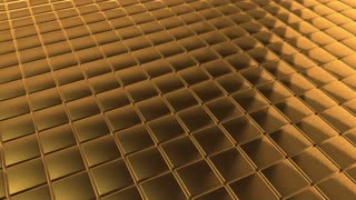 Scrolling Tiled Floor | Shiny Square Brushed Metal Tiles on a Plane Surface | Seamless Looping Video Background | 1920x1080 Full HD | Textured Gold |