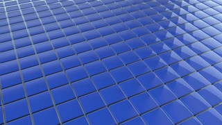 Scrolling Tiled Floor | Shiny Square Metal Tiles on a Plane Surface | Seamless Looping Video Background | 1920x1080 Full HD | Blue |