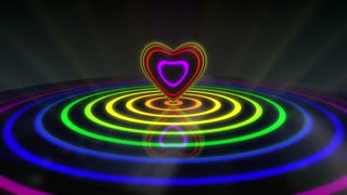Glowing Heart with Colorful Illuminated Rings & Stripes of Light | Beautiful Party Theme or VJ Loop Video Motion Background | Seamless Looping | 1920X1080 Full HD | Multicolored and Hue Shifter