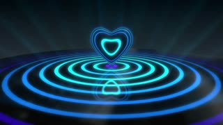 Glowing Heart with Colorful Illuminated Rings & Stripes of Light | Beautiful Party Theme or VJ Loop Video Motion Background | Seamless Looping | 1920X1080 Full HD | Cyan Blue