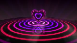 Glowing Heart with Colorful Illuminated Rings & Stripes of Light | Beautiful Party Theme or VJ Loop Video Motion Background | Seamless Looping | 1920X1080 Full HD | Purple Violet Magenta Pink