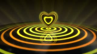 Glowing Heart with Colorful Illuminated Rings & Stripes of Light | Beautiful Party Theme or VJ Loop Video Motion Background | Seamless Looping | 1920X1080 Full HD | Yellow Orange