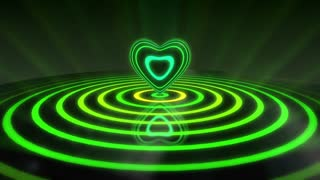 Glowing Heart with Colorful Illuminated Rings & Stripes of Light | Beautiful Party Theme or VJ Loop Video Motion Background | Seamless Looping | 1920X1080 Full HD | Shades of Green