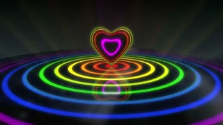 Glowing Heart with Colorful Illuminated Rings & Stripes of Light | Beautiful Party Theme or VJ Loop Video Motion Background | Seamless Looping | 1920X1080 Full HD | Seven Colors of Visible Light Spectrum | 7 Rainbow Colors | VIBGYOR