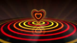 Glowing Heart with Colorful Illuminated Rings & Stripes of Light | Beautiful Party Theme or VJ Loop Video Motion Background | Seamless Looping | 1920X1080 Full HD | Vibrant Red Yellow Orange