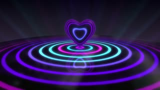 Glowing Heart with Colorful Illuminated Rings & Stripes of Light | Beautiful Party Theme or VJ Loop Video Motion Background | Seamless Looping | 1920X1080 Full HD | Purple Violet Cyan