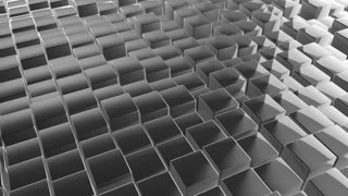 Scrolling Floor made up of Metallic Cubes | Shiny Metal Cubes with Displacement | Seamless Looping Video Background | 1920x1080 Full HD | Silver White |