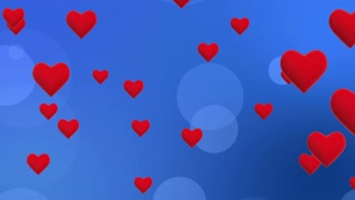 Simple Flying Hearts Video Background | Simplistic Animated Heart and Circle Particles Motion Backdrop| Seamless Looping | Full HD 1920 X 1080| Blue