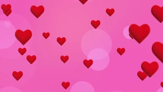 Simple Flying Hearts Video Background | Simplistic Animated Heart and Circle Particles Motion Backdrop| Seamless Looping | Full HD 1920 X 1080| Pink