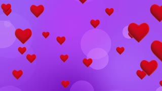Simple Flying Hearts Video Background | Simplistic Animated Heart and Circle Particles Motion Backdrop| Seamless Looping | Full HD 1920 X 1080| Purple Violet