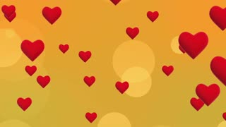 Simple Flying Hearts Video Background | Simplistic Animated Heart and Circle Particles Motion Backdrop| Seamless Looping | Full HD 1920 X 1080| Yellow Orange