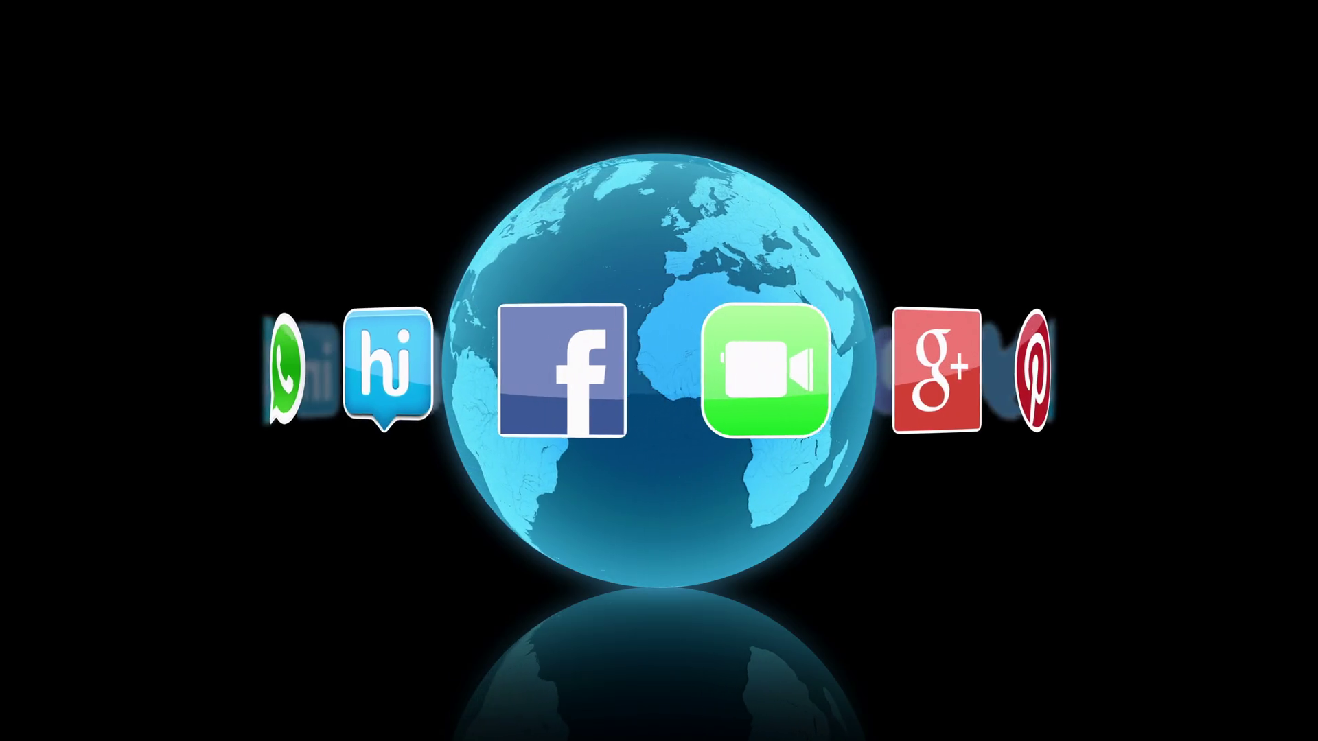 Social Media Icons and Logos Spinning Around a 3D Globe - Black - Version 1 Motion Background ...