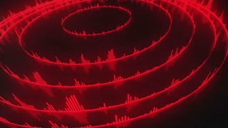Spinning Circular Audio Bars | Colorful Seamless Loopable Video Motion Background | Round Shaped Sound Volume Equalizer Rotating VJ Loop | Full HD | Deep Red