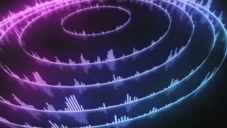 Spinning Circular Audio Bars | Colorful Seamless Loopable Video Motion Background | Round Shaped Sound Volume Equalizer Rotating VJ Loop | Full HD | Light Violet Pink Cyan Blue