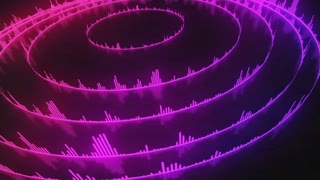 Spinning Circular Audio Bars | Colorful Seamless Loopable Video Motion Background | Round Shaped Sound Volume Equalizer Rotating VJ Loop | Full HD | Pink Magenta Violet Purple