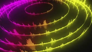 Spinning Circular Audio Bars | Colorful Seamless Loopable Video Motion Background | Round Shaped Sound Volume Equalizer Rotating VJ Loop | Full HD | Quickly Changing Colors