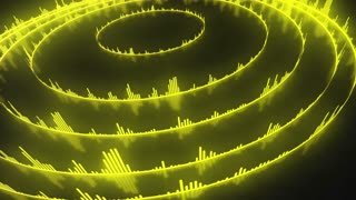 Spinning Circular Audio Bars | Colorful Seamless Loopable Video Motion Background | Round Shaped Sound Volume Equalizer Rotating VJ Loop | Full HD | Yellow