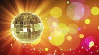 Spinning Disco Ball Party Themed Funky Fun Loopable Motion Background With Glowing Particles and Bokeh Colorful Orange Yellow Red