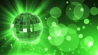 Spinning Disco Ball Party Themed Funky Fun Loopable Motion Background With Glowing Particles and Bokeh Green