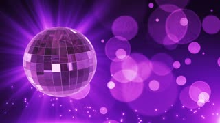 Spinning Disco Ball Party Themed Funky Fun Loopable Motion Background With Glowing Particles and Bokeh Purple Violet