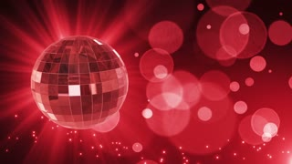 Spinning Disco Ball Party Themed Funky Fun Loopable Motion Background With Glowing Particles and Bokeh Red