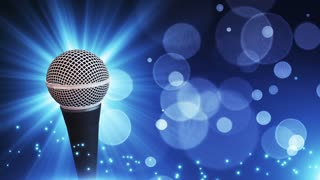 Spinning Dynamic Modern Microphone Music Show Loopable Motion Background With Glowing Particles and Bokeh Blue