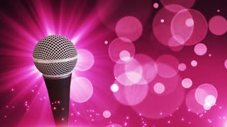 Spinning Dynamic Modern Microphone Music Show Loopable Motion Background With Glowing Particles and Bokeh Pink Magenta