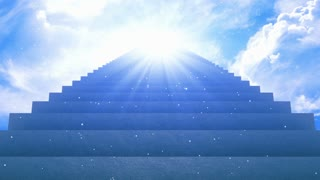 Stairs Going Leading up to a Divine Light Source in The Bright Blue Sky | Stairs to Heaven | Full HD 1920 X 1080 | Motion Background
