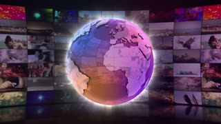 Stylish Shiny Colorful Globe Spinning in front of A moving Wall Of Screens | Version 3 | Seamless Loop | Motion Background | Full HD 1920x1080 | Purple Violet Pink