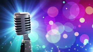 Traditional Retro Vintage Style Microphone Spinning Music Show Loopable Motion Background With Glowing Particles and Bokeh Colorful Cyan Blue Purple Red Pink