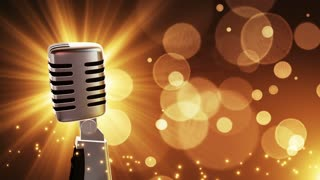 Traditional Retro Vintage Style Microphone Spinning Music Show Loopable Motion Background With Glowing Particles and Bokeh Gold Golden Brown Champagne Yellow Orange