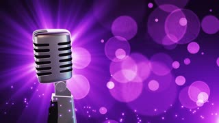 Traditional Retro Vintage Style Microphone Spinning Music Show Loopable Motion Background With Glowing Particles and Bokeh Purple Violet