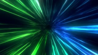 Traveling at Faster Than Light Speed into a Portal or Time Vortex | Animated Abstract Simulation of High Speed Travel in Space | Blue Green