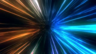 Traveling at Faster Than Light Speed into a Portal or Time Vortex | Animated Abstract Simulation of High Speed Travel in Space | Blue Orange