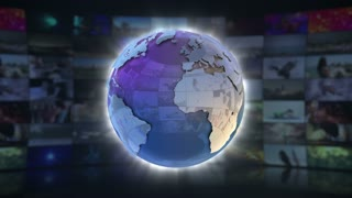 World News On Screen 3D Animated Text Graphics   News Broadcast Graphic Title Animation Loop   Full HD 1920X1080   Blue Cyan