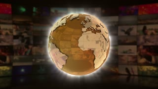 World News On Screen 3D Animated Text Graphics | News Broadcast Graphic Title Animation Loop | Full HD 1920X1080 | Gold Golden Yellow Orange