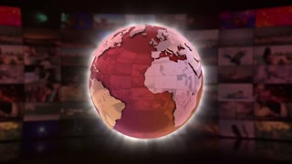 World News On Screen 3D Animated Text Graphics | News Broadcast Graphic Title Animation Loop | Full HD 1920X1080 | Red Maroon