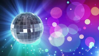 Spinning Disco Ball Party Themed Funky Fun Loopable Motion Background With Glowing Particles and Bokeh Colorful Cyan Blue Purple Red Pink