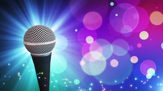 Spinning Dynamic Modern Microphone Music Show Loopable Motion Background With Glowing Particles and Bokeh Colorful Cyan Blue Purple Red Pink